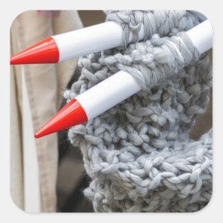 knitting workwoman square sticker