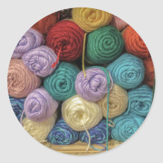 Knitting Yarn Classic Round Sticker