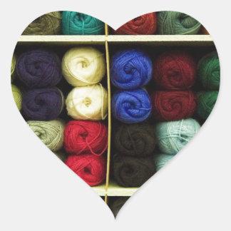 Knitting Yarn Heart Sticker