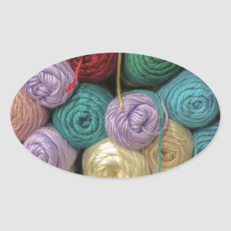 Knitting Yarn Oval Sticker
