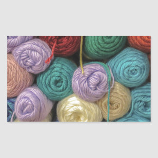 Knitting Yarn Rectangular Sticker