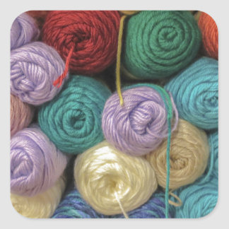 Knitting Yarn Square Sticker