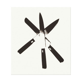 Knive (Black on White) Stretched Canvas Print