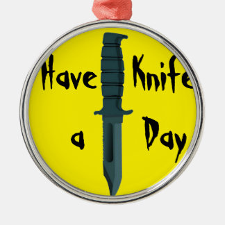 Knives Have a Knife Day Round Metal Christmas Ornament