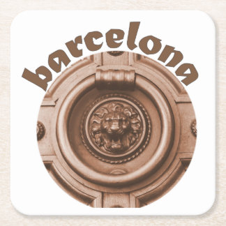 Knock Knock - Barcelona Old Quarter Door Knocker Square Paper Coaster
