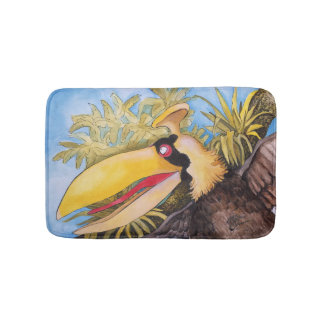 """Knock Knock Bird"" Art by Mike Quinn Bathroom Mat"