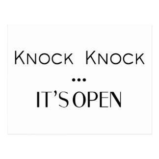 Knock Knock It's Open Postcard