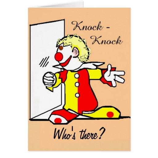 Knock-Knock Joke Clown Birthday Card