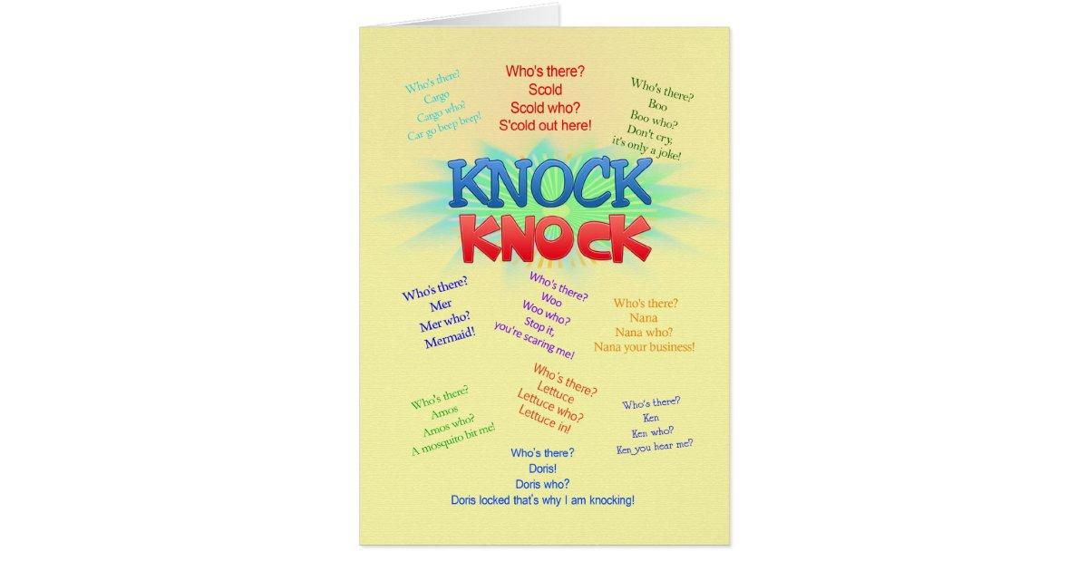 Knock knock Jokes birthday card Zazzle