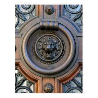 Knock Knock - Lion Door Knocker Postcard