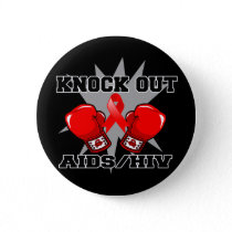Knock Out AIDS HIV Pinback Button