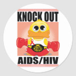 Knock Out AIDS/HIV Round Stickers