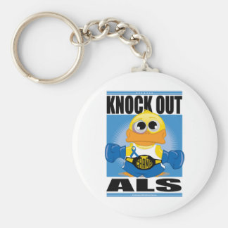 Knock Out ALS Basic Round Button Keychain