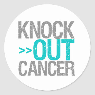Knock Out Cancer - Gynecologic Cancer Round Stickers
