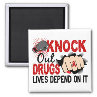 Knock Out Drugs 2 Female Fist 2 Inch Square Magnet