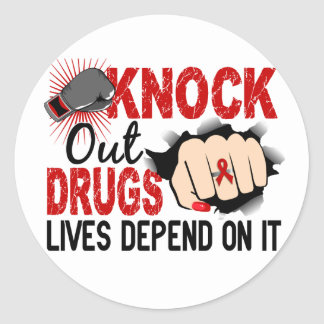 Knock Out Drugs 2 Female Fist Classic Round Sticker