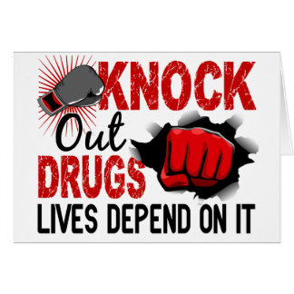 Knock Out Drugs 2 Male Fist Greeting Card