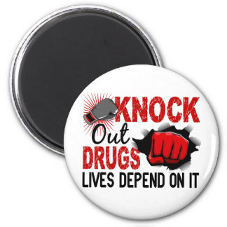 Knock Out Drugs 2 Male Fist 2 Inch Round Magnet