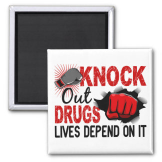 Knock Out Drugs 2 Male Fist 2 Inch Square Magnet