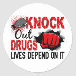 Knock Out Drugs 2 Male Fist Round Stickers