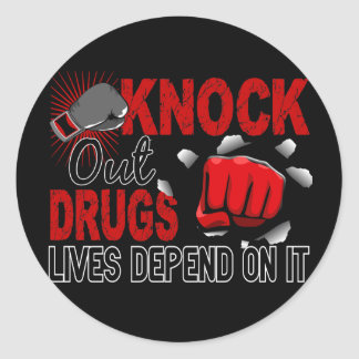 Knock Out Drugs 2 Male Fist Classic Round Sticker