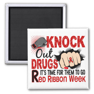Knock Out Drugs Female Fist 2 Inch Square Magnet