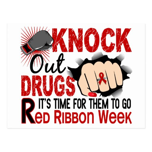 Knock Out Drugs Female Fist Postcard