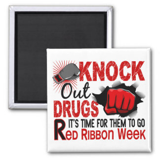 Knock Out Drugs Male Fist 2 Inch Square Magnet