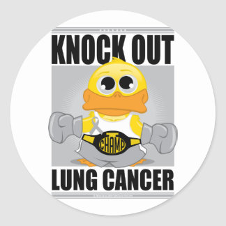 Knock Out Lung Cancer Classic Round Sticker