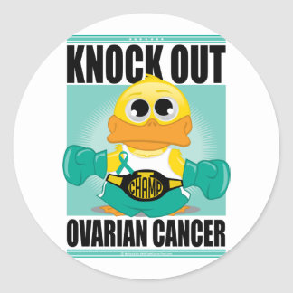 Knock Out Ovarian Cancer Classic Round Sticker