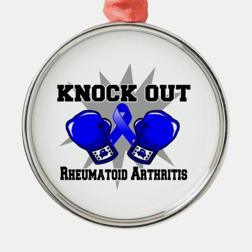 Knock Out Rheumatoid Arthritis Round Metal Christmas Ornament