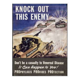 Knock Out This Enemy...VD! WWII Warning Soldiers Postcard
