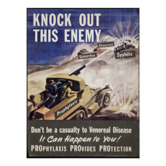 Knock Out This Enemy...VD! WWII Warning Soldiers Poster