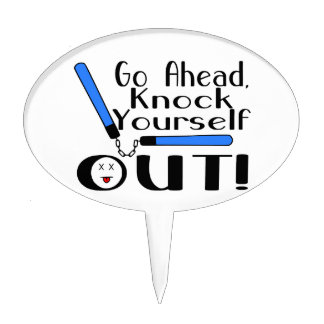 Knock Yourself Out Numchucks Cake Topper