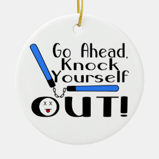 Knock Yourself Out Numchucks Double-Sided Ceramic Round Christmas Ornament