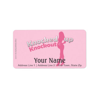 Knocked Up Knockout Baby Shower Mom-to-Be Personalized Address Labels
