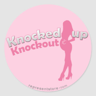 Knocked Up Knockout Baby Shower Mom-to-Be Round Stickers