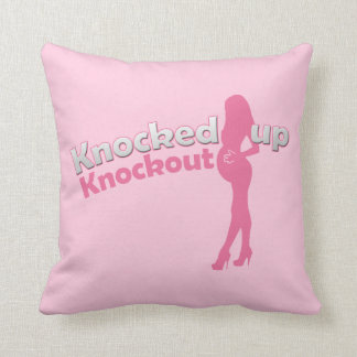 Knocked Up Knockout Baby Shower Mom-to-Be Throw Pillow