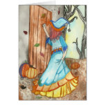 Knocking witch Halloween Greeting Cards