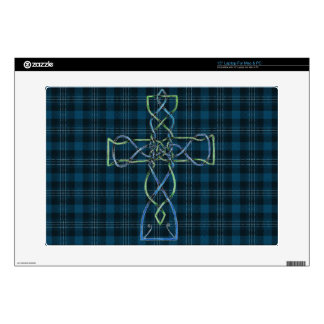 Knot Cross on blue plaid skin Decal For Laptop