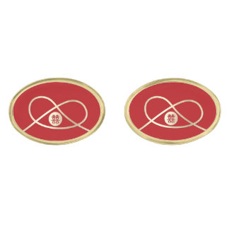 Knot Double Happiness Red Chinese Wedding Cufflink