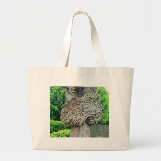 Knot on Tree Trunk, Knar, Nature Green Large Tote Bag