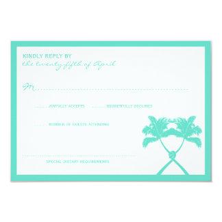 Knot Palm Trees Beach Tropical Modern Wedding RSVP Card