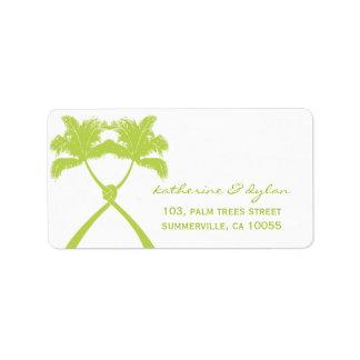 Knot Palm Trees Beach Tropical Wedding Modern Chic Address Label
