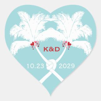 Knot Palm Trees Beach Tropical Wedding Modern Chic Heart Sticker