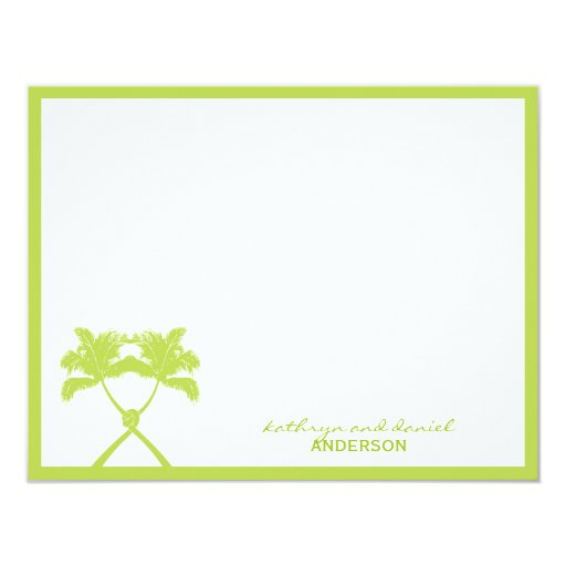 Knot Palm Trees Beach Tropical Wedding Modern Chic 4.25x5.5 Paper Invitation Card