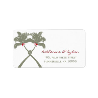 Knot Palm Trees Beach Tropical Wedding Modern Chic Label