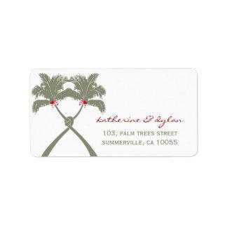 Knot Palm Trees Beach Tropical Wedding Modern Chic Custom Address Label