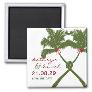 Knot Palm Trees Beach Tropical Wedding Modern Chic Magnet
