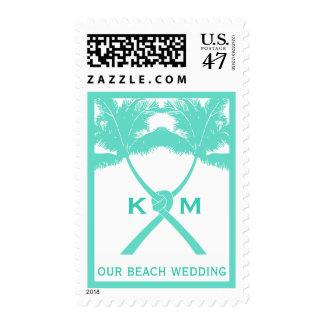 Knot Palm Trees Beach Tropical Wedding Modern Chic Postage